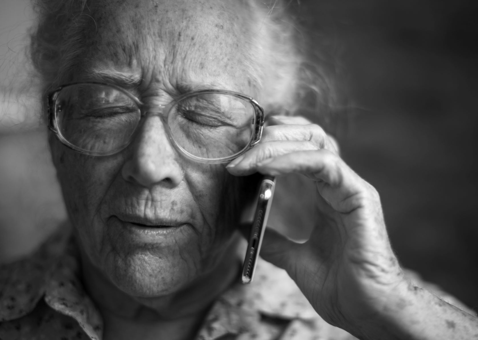 Elderly man on phone call