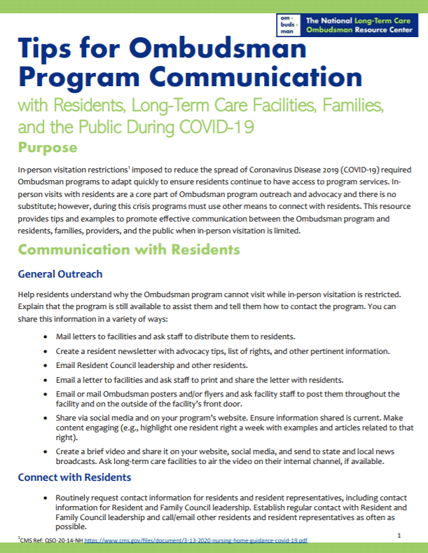 Tips for Ombudsman Program Communication
